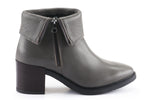 Ella Leather Fold-Over Ankle Boots - Grey