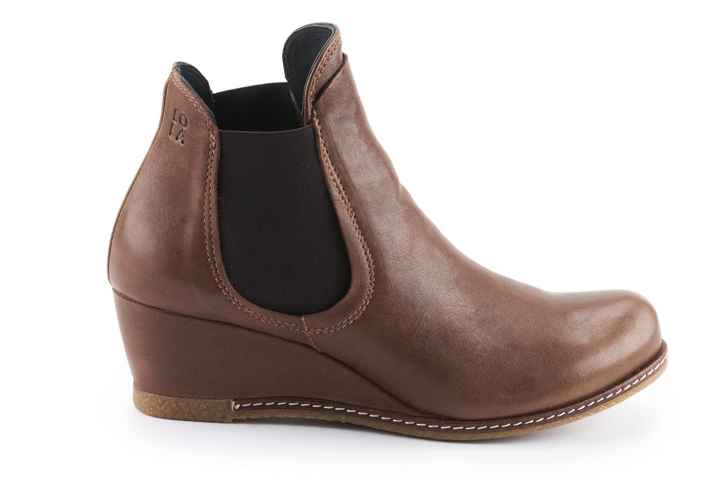 Mia Leather Wedge Chelsea boots - Mocha