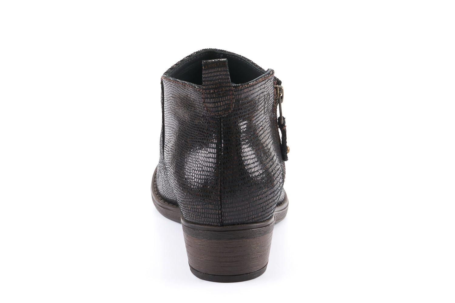 Amber Leather Ankle Bootie - Snake Brown