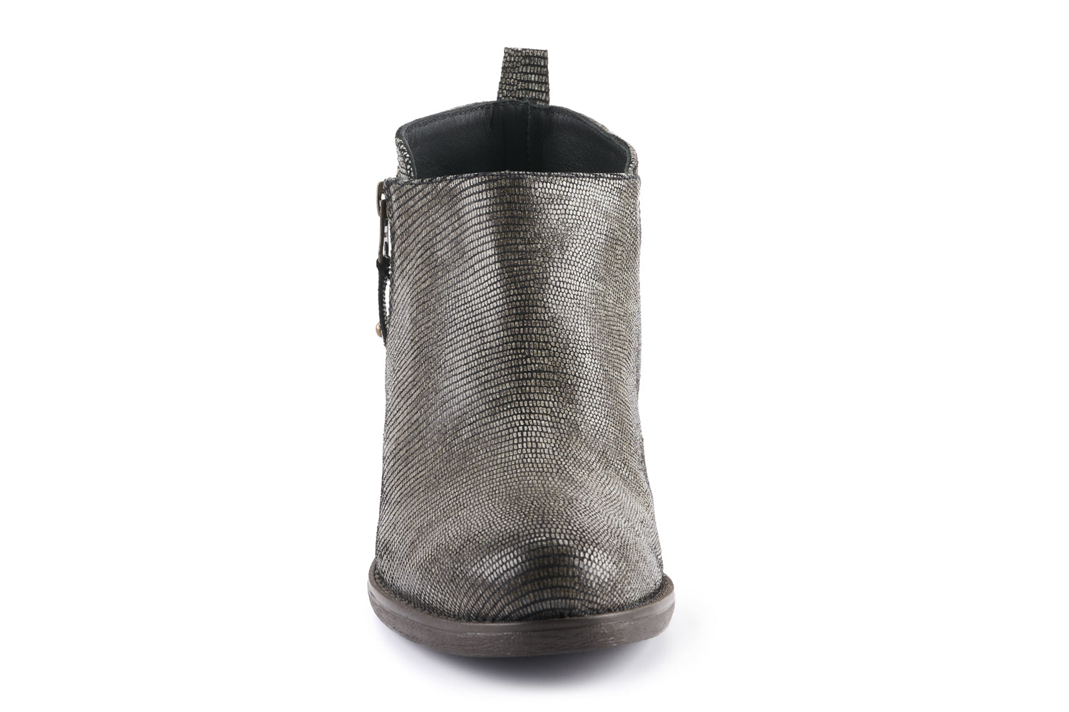 Amber Leather Ankle Bootie - Snake Grey