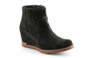 Emily Suede Quilted Ankle Boot - Black