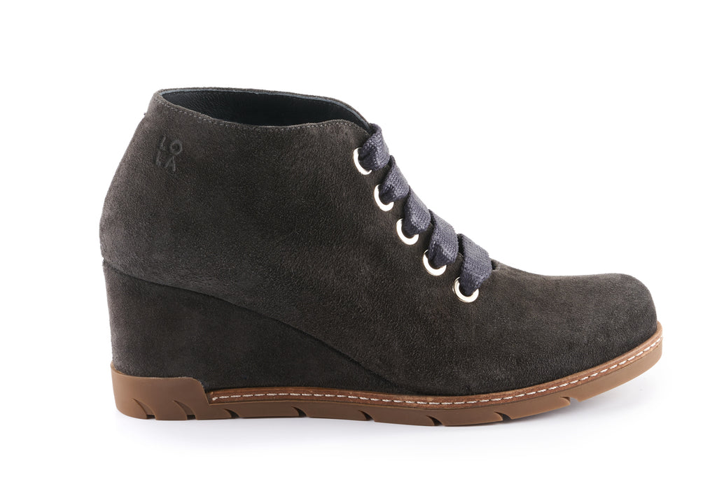 Amelia Suede Wedge Desert Boot - Charcoal Grey