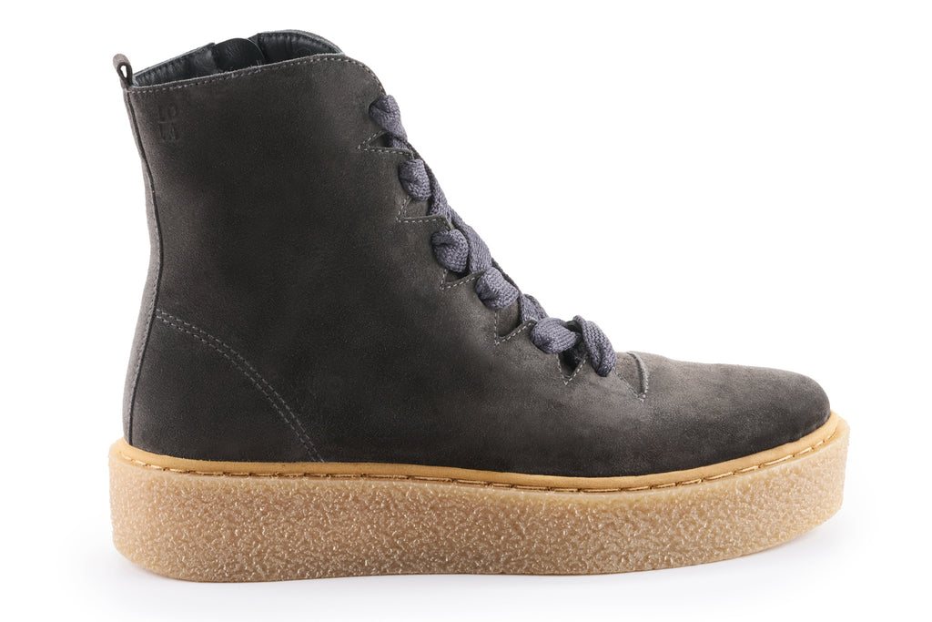 Alice Suede Platform Combat Boot - Charcoal Grey