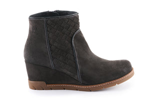 Emily Suede Quilted Ankle Boot - Charcoal Grey
