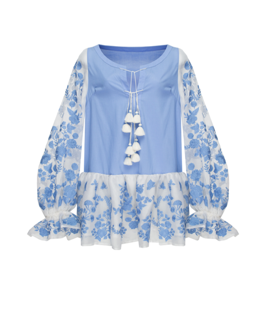 SILK ROSE top in skyblue cotton