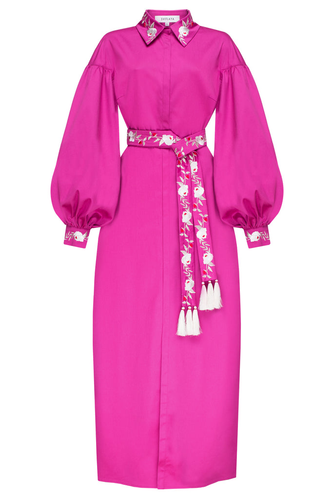 TEA ROSES fuchsia maxi dress
