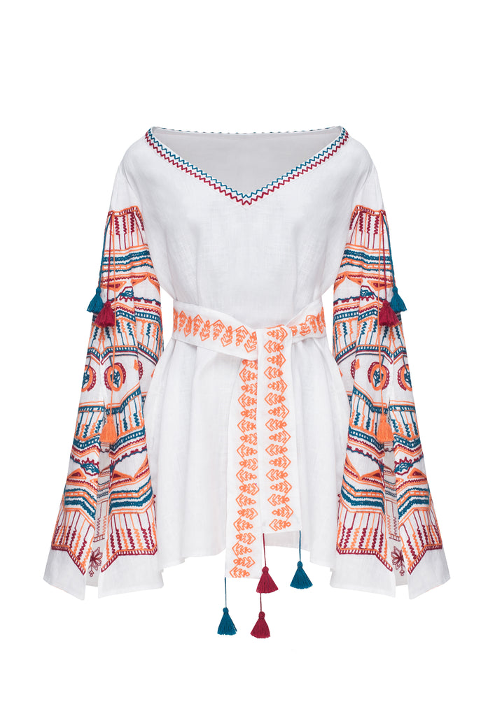 SUN RAY tunic in white linen