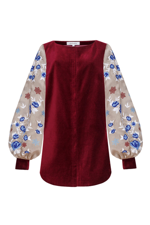 SNOW ROSE tunic in burgundy velvet