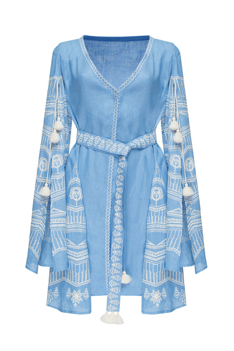SUN RAY mini dress in blue linen