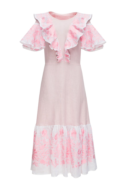 PINEAPPLE midi dress in pink linen