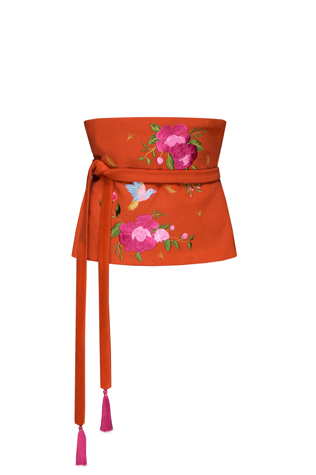 TEA ROSES orange embroidered belt