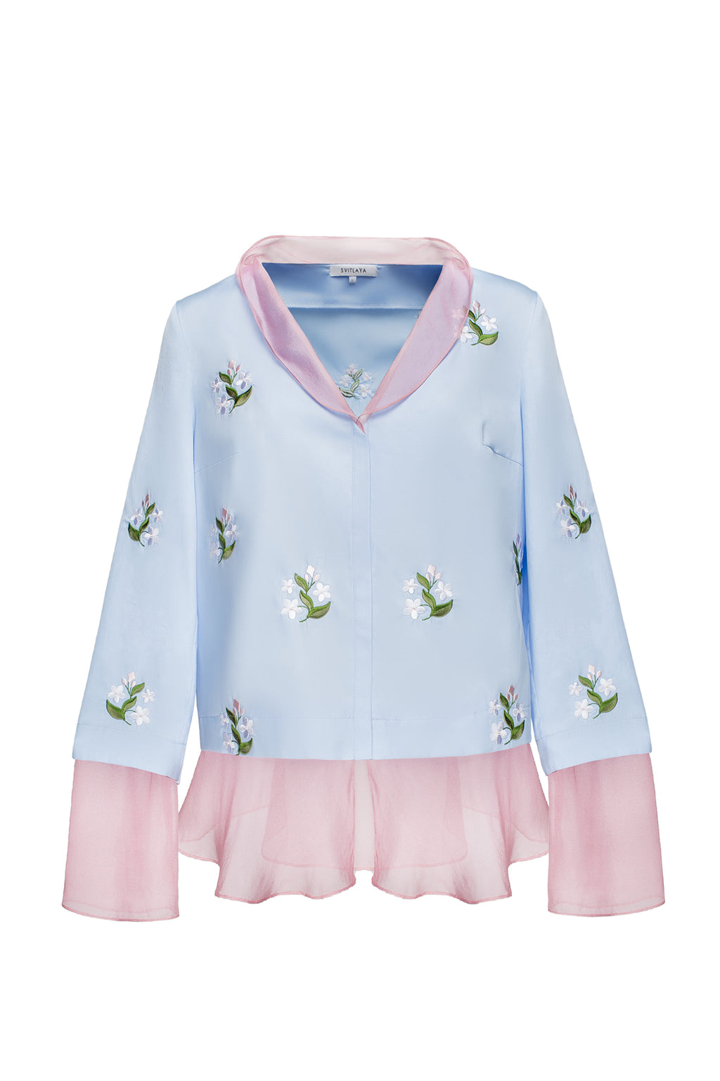 FORGET-ME-NOTS blouse in sky blue cotton