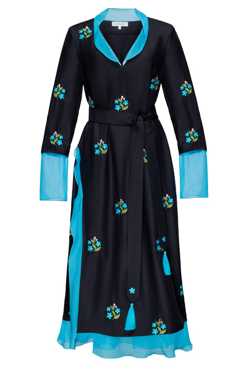 FORGET-ME-NOTS midi dress in black wool