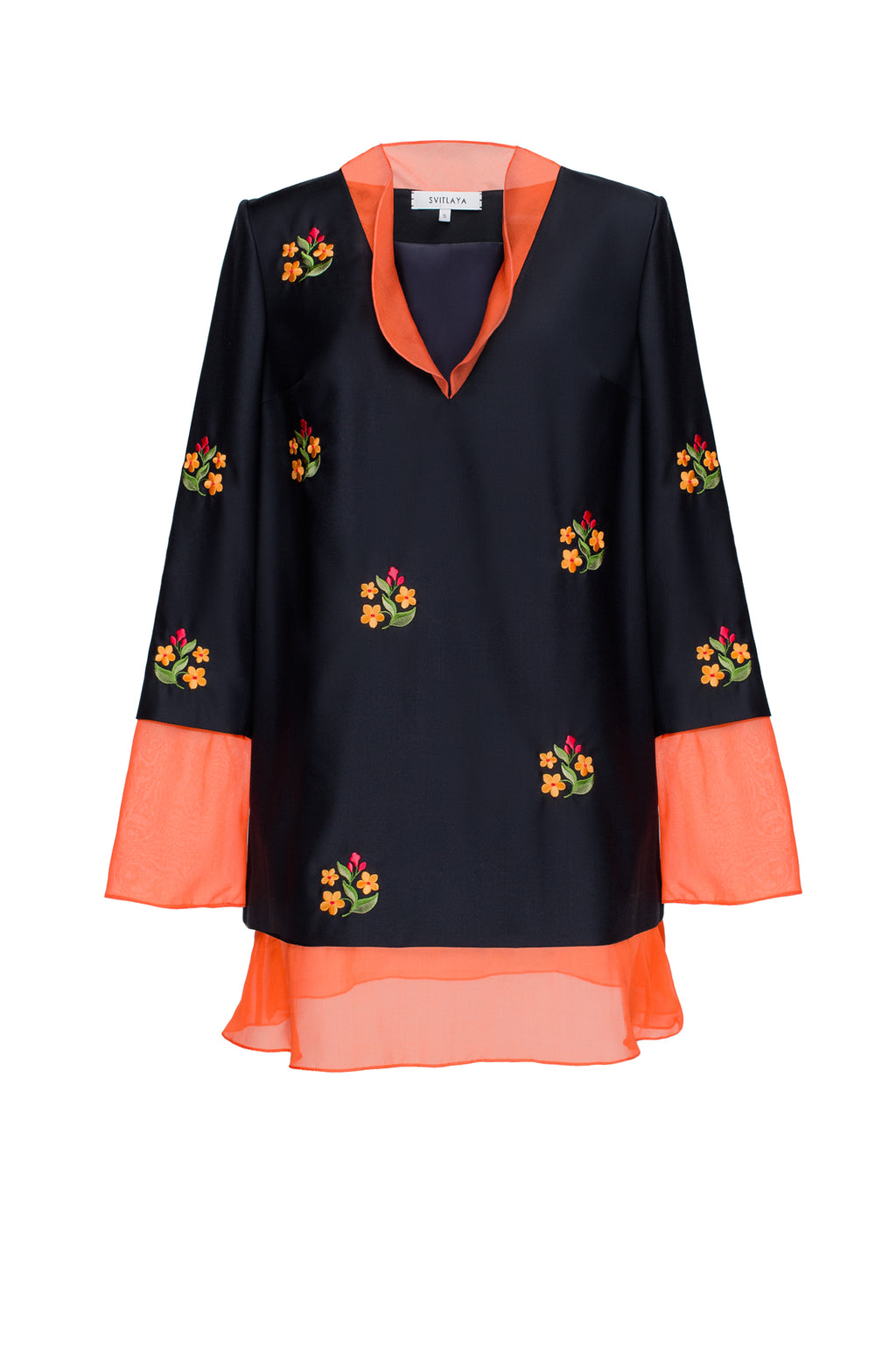 FORGET-ME-NOTS tunic in black wool