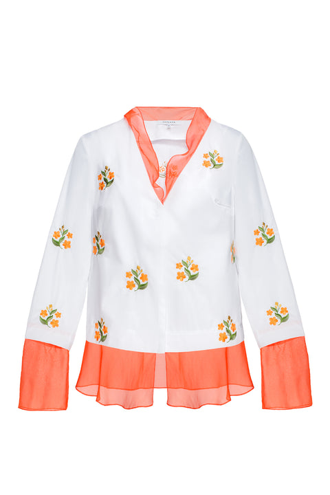 FORGET-ME-NOTS blouse in white cotton