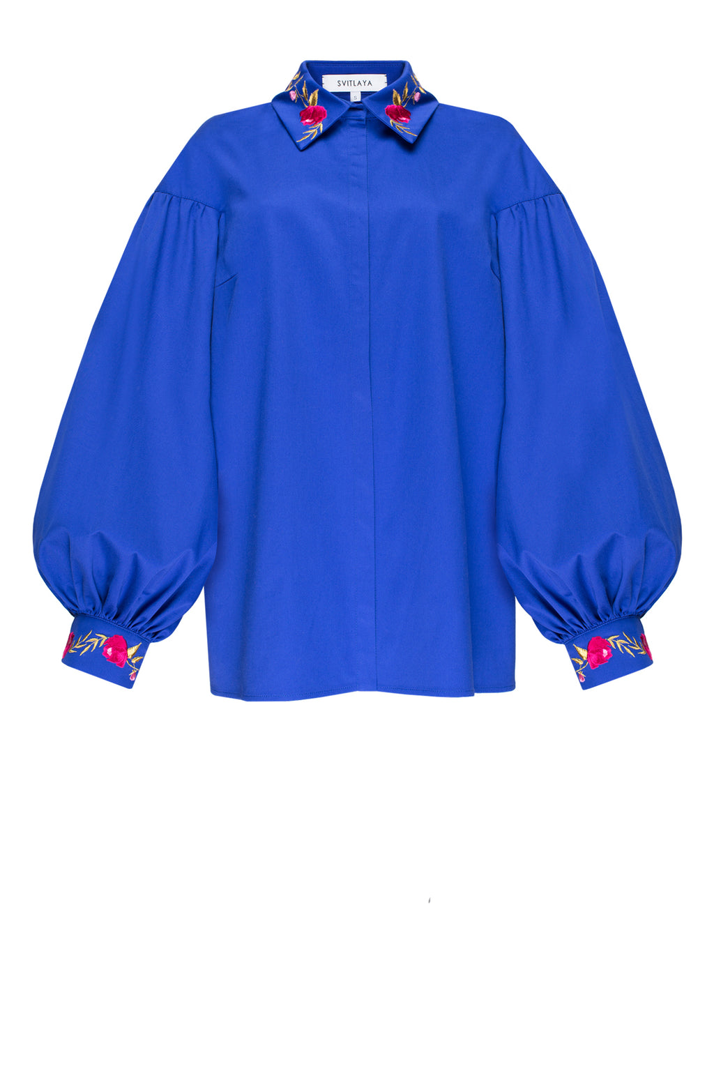 TEA ROSES blouse in royal blue cotton