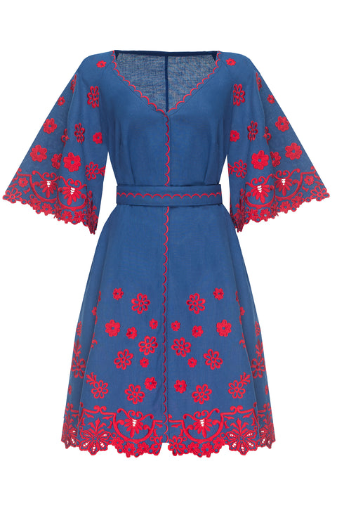 CHAMOMILE mini dress in navy with red