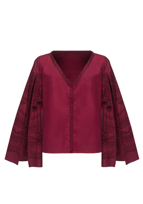 SUN RAY blouse in burgundy cotton