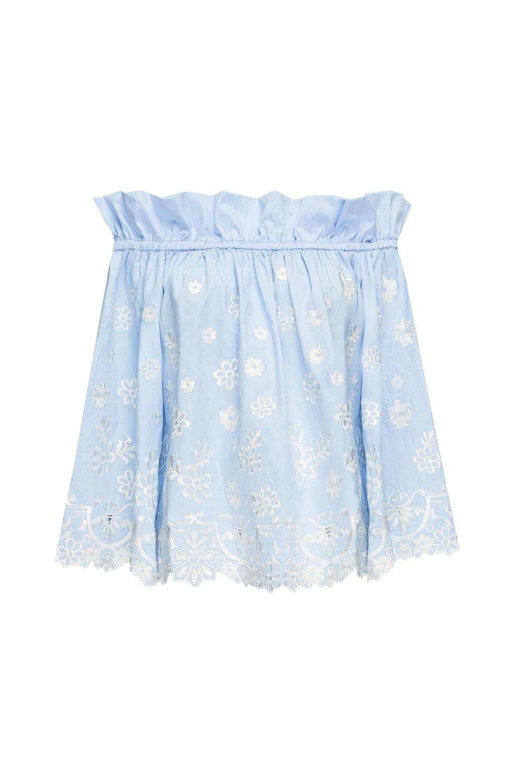 CHAMOMILE top in blue cotton with white