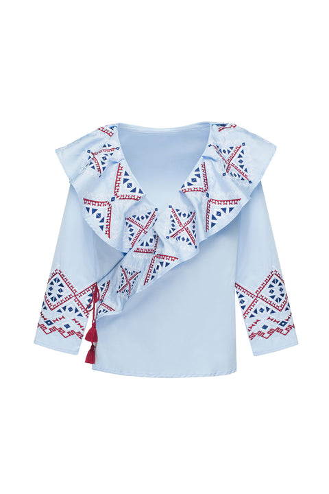DIAMOND blouse in blue cotton