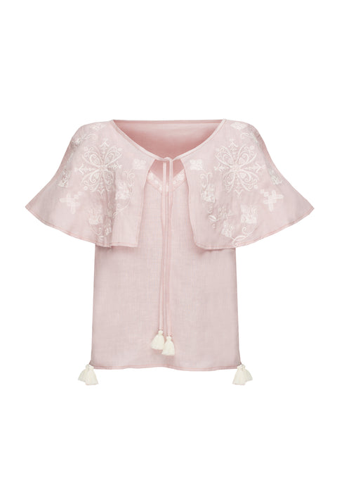 HEART top in pink linen