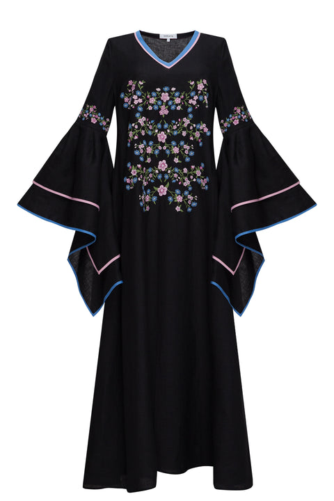 WILDFLOWER CLOUDS maxi dress in black linen