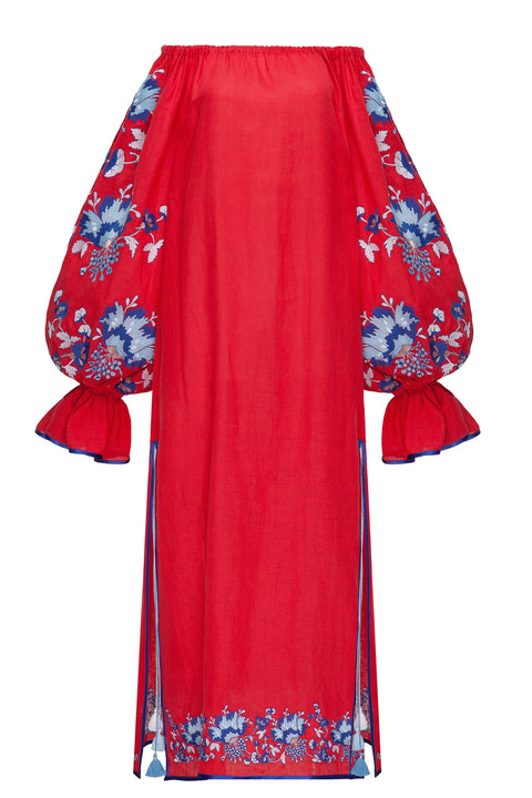 CARNATIONS BOUQUET maxi dress in red linen