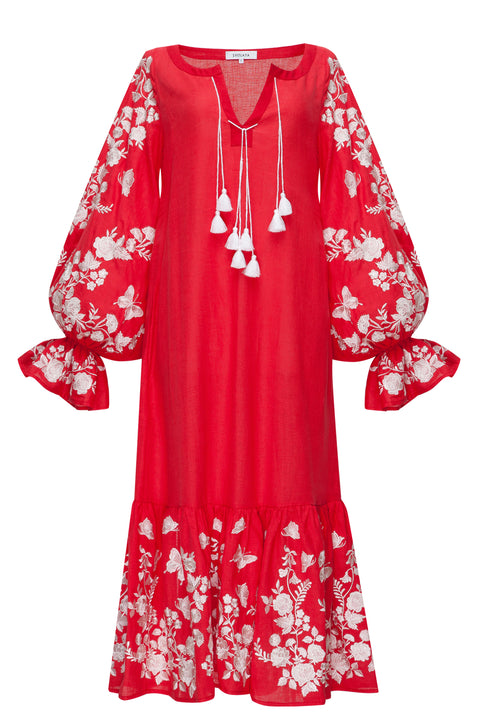 SUMMER ROSE midi dress in red linen