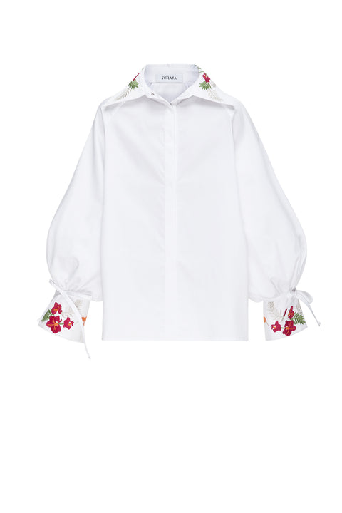 TROPICAL GARDEN blouse in white cotton