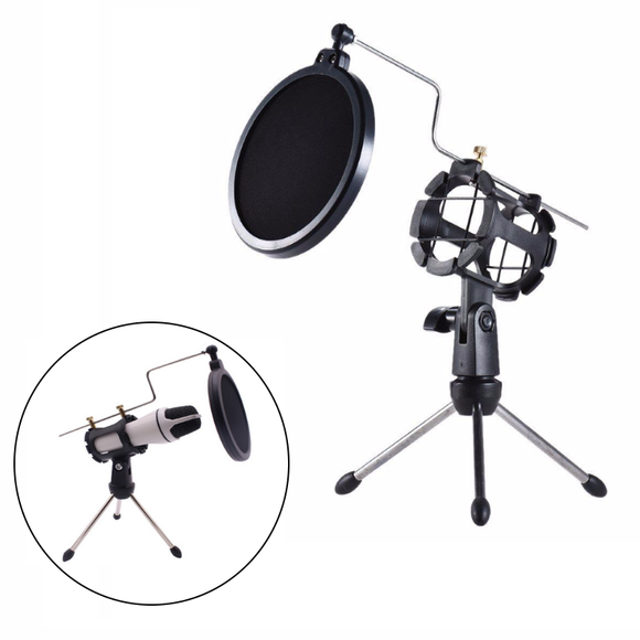 MS01 Desktop Tripod Stand with Double Mesh Pop Screen Filter (Special 30% Off Promo) - Amateur Home Studio