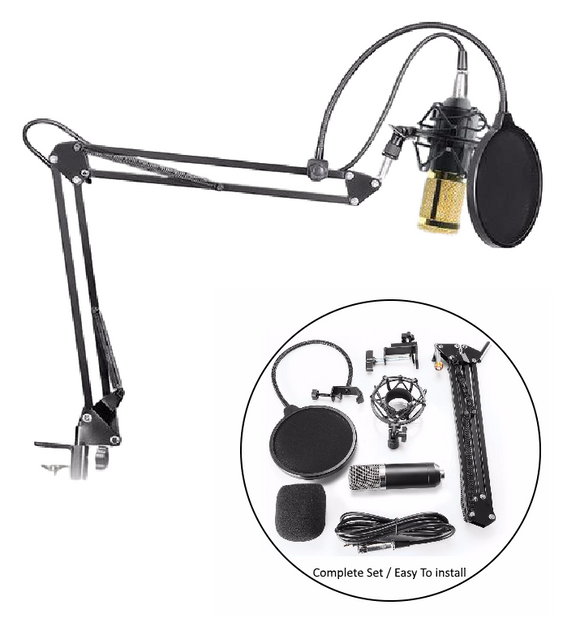 SP02AX Professional Condenser Microphone + Shock Mount + Arm Stand + Pop Filter (Special 30% Off with FREE SHIPPING) - Amateur Home Studio