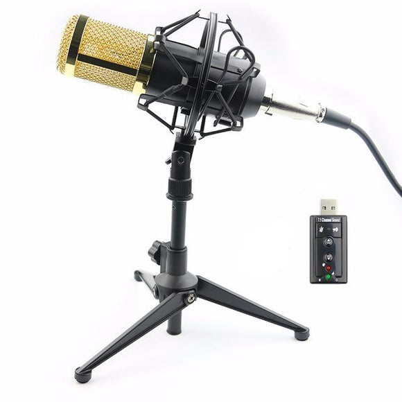 SP01B Professional Condenser Microphone + Shock Mount + Tripod + USB Sound Card - Amateur Home Studio