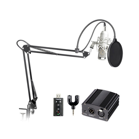 SP03C Professional Condenser Microphone + Shock Mount + Arm Stand + Pop Filter + Audio Splitter + Phantom Power + USB Sound Card - Amateur Home Studio
