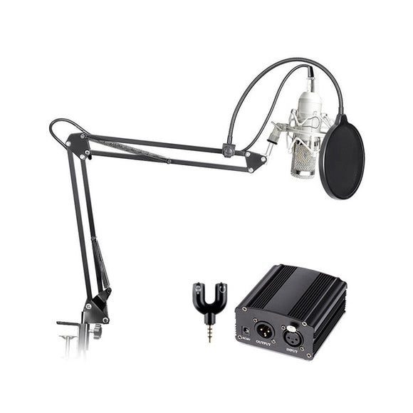 SP03B Professional Condenser Microphone + Shock Mount + Arm Stand + Pop Filter + Audio Splitter + Phantom Power - Amateur Home Studio