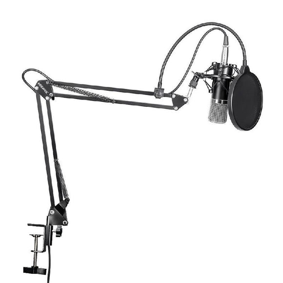 SP02A Professional Condenser Microphone + Shock Mount + Arm Stand + Pop Filter - Amateur Home Studio