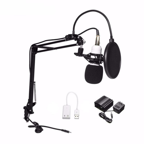 SP04B Professional Condenser Microphone + Shock Mount + Arm Stand + Pop Filter + Audio Splitter + Phantom Power - Amateur Home Studio