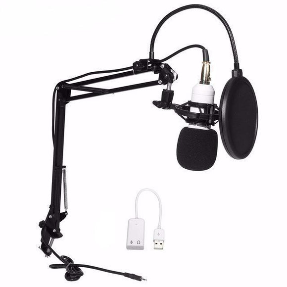 SP04A Professional Condenser Microphone + Shock Mount + Arm Stand + Pop Filter + Audio Splitter - Amateur Home Studio