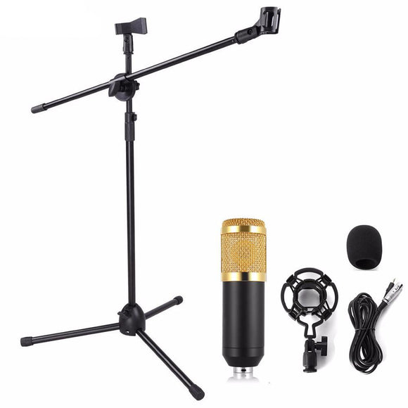 SP07 Professional Condenser Microphone + Shock Mount + Arm Stand + Pop Filter - Amateur Home Studio