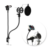 MS08 2-in-1 Desk Mount For Phone and Microphone Stand with Pop Filter - Amateur Home Studio