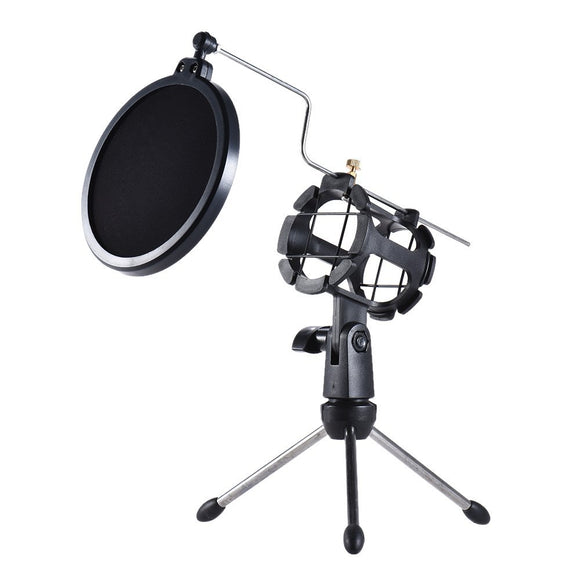 MS01 Desktop Tripod Stand with Double Mesh Pop Screen Filter - Amateur Home Studio