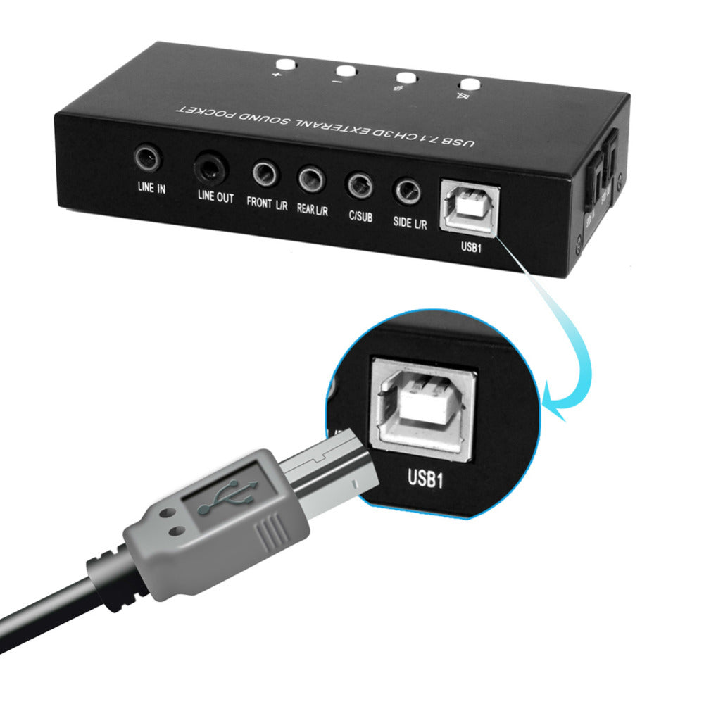 Ai07 71 Surround Channel Usb Audio Sound Card With Volume Mute Adapter Controller And Dual Mic