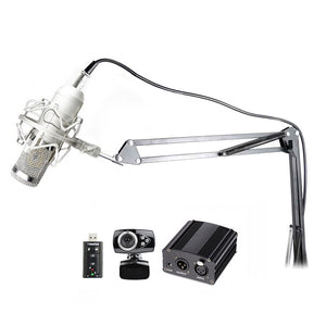 SP06B4 Professional Condenser Microphone + Shock Mount + Arm Stand + Pop Filter + USB Sound Card + Phantom Power + Webcam - Amateur Home Studio