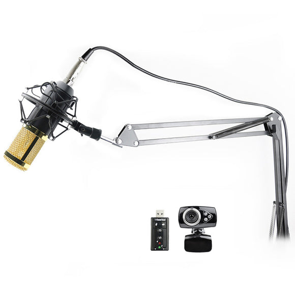 SP06A Professional Condenser Microphone + Shock Mount + Arm Stand + Pop Filter + USB Sound Card + Webcam - Amateur Home Studio