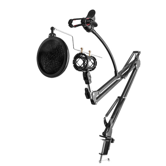 MS10 All-in-one Professional Broadcast Studio Microphone Suspension Scissor Boom Stand - Amateur Home Studio