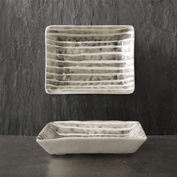 923 Hand painted oblong dish - Painted stripe