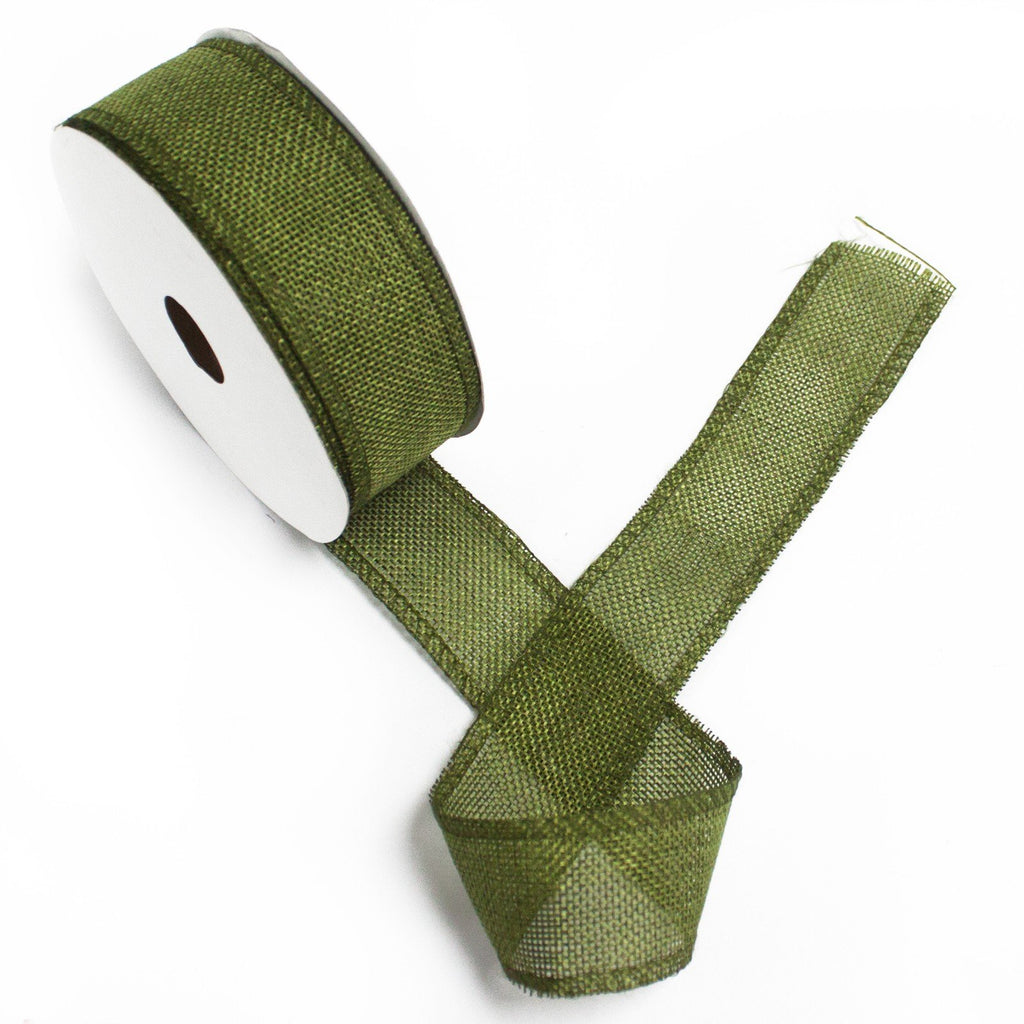 Natural Texture Ribbon - 38mm x 20m - Xmas Green