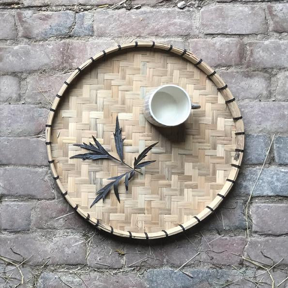1468 Woven round tray - Small natural