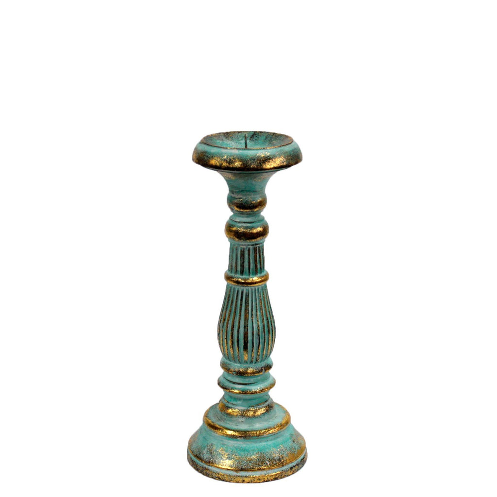 Candle Stand - Small Turquoise Gold