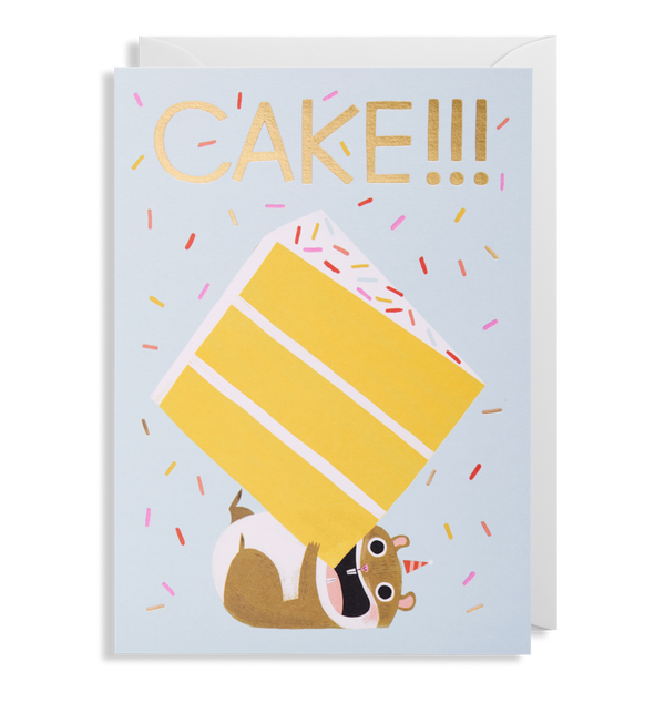 1602 Allison Black - Cake!!! Hamster Greeting Card - Mrs Best Paper Co.