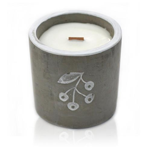 Wooden Wick Concrete Candles - Med Pot - Berrys - Juniper & Sweet Gin